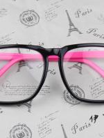 แว่นตาแฟชั่นเกาหลี กรอบสี่เหลี่ยมดำโรส (พร้อมเลนส์)