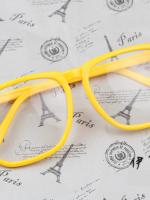 แว่นตาแฟชั่นเกาหลี กรอบสี่เหลี่ยมสีเหลือง (พร้อมเลนส์)