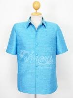 เสื้อสูทไหมผสมฝ้าย สีฟ้า ไซส์ XL