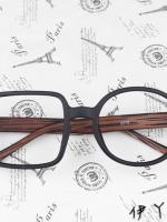 แว่นตาแฟชั่นเกาหลี กรอบสี่เหลี่ยมวงกลมสีดำไม้ (ไม่มีเลนส์)