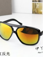 แว่นตากันแดดแฟชั่นเกาหลี กรอบดำมันเลนส์ปรอทสีทองส้ม