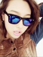 แว่นตากันแดดแฟชั่นเกาหลี กรอบดำสะท้อนแสงน้ำเงินม่วง