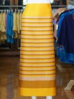 ผ้าซิ่นศิลามณี สีเหลืองสลับน้ำตาลทอง