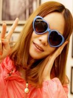 แว่นตากันแดดแฟชั่นเกาหลี กรอบหัวใจสีน้ำเงิน