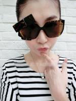 แว่นตากันแดดแฟชั่นเกาหลี สีน้ำตาลเสือดาว