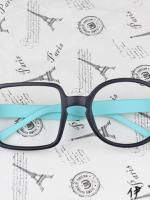 แว่นตาแฟชั่นเกาหลี กรอบสี่เหลี่ยมวงกลมสีดำฟ้า (ไม่มีเลนส์)