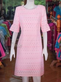 เดรสผ้าลูกไม้ สีชมพู ไซส์ XL