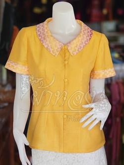 เสื้อผ้าฝ้ายสุโขทัยสีเหลืองแต่งผ้าลายหมากรุก ไม่อัดผ้ากาว ไซส์ S