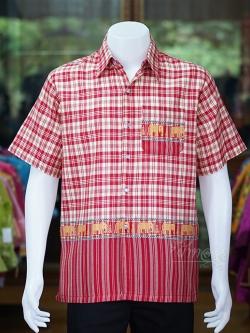 เสื้อเชิ้ตผ้าฝ้ายทอลายช้าง ไม่อัดผ้ากาว สีแดง-เหลืองอ่อน ไซส์ L