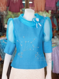 เสื้อผ้าฝ้ายสุโขทัย ปกและแขนผ้าแก้ว ไซส์ M