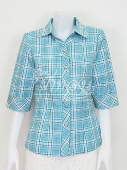 เสื้อผ้าฝ้ายทอลายสก็อต ปกเชิ้ตคอวี ไซส์ L