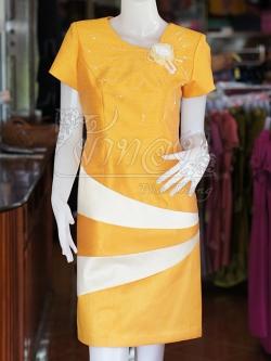 เดรสผ้าไหมแพรทองแต่งสลับสี สีหลือง ไซส์ XL