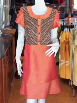 เดรสผ้าฝ้ายสุโขทัยแต่งผ้ามุกสายรุ้ง ไซส์ XL