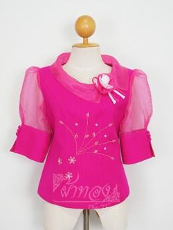 เสื้อผ้ามุก ปกและแขนผ้าแก้ว ไซส์ XL