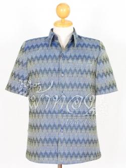 เสื้อสูทผ้าฝ้ายลายมัดหมี่สุโขทัย สีน้ำเงิน ไซส์ 3XL