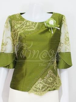 เสื้อผ้าไหมแพรทอง แต่งลูกไม้ดิ้นทอง สีเขียว ไซส์ 2XL