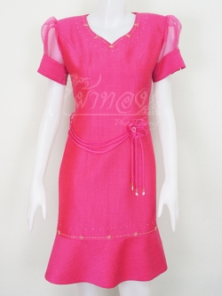 เดรสผ้าพื้นสีชมพูสด แขนผ้าแก้ว ไซส์ XL