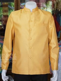 เสื้อสูทไหมแพรทองคอพระราชทานแขนยาว สีทอง ไซส์ 2XL