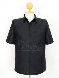 เสื้อสูทไหมผสมฝ้าย สีดำ ไซส์ S