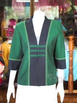 เสื้อคลุมผ้าฝ้ายสุโขทัยเดินเส้นไหม ไซส์ XL