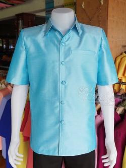 เสื้อสูทไหมแพรทอง สีฟ้า ไซส์ L