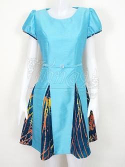 เดรสผ้าไหมแพรทองสีฟ้าแต่งผ้าฝ้ายบาติค ไซส์ L