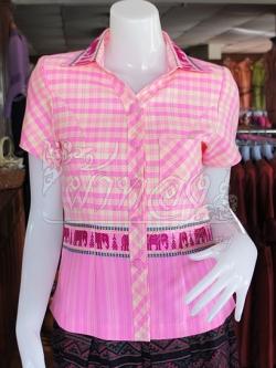 เสื้อผ้าทอลายช้างปกเชิ้ต สีชมพู ไซส์ M