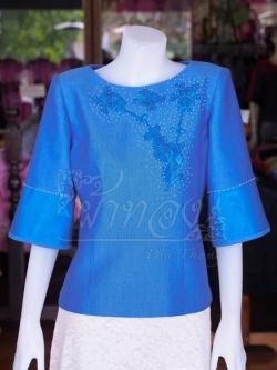 เสื้อผ้าฝ้ายสุโขทัยแต่งลูกไม้ปักมุก สีฟ้าคราม ไซส์ L