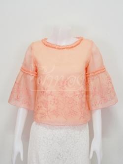 เสื้อผ้าไหมแก้วปักลายดอกไม้ สีโอลโรสอ่อน ไซส์ XL