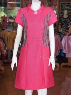 เดรสผ้าฝ้ายสุโขทัยแต่งผ้ามุกสายรุ้งคอจีน ไซส์ XL