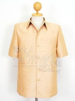 เสื้อสูทไหมผสมฝ้าย สีทองอ่อน ไซส์ XL