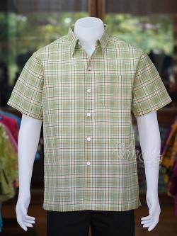 เสื้อเชิ้ตผ้าทอลายสก็อต ไม่อัดผ้ากาว สีเขียวอ่อน ไซส์ 2XL