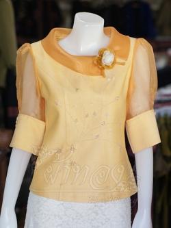 เสื้อผ้าฝ้ายสุโขทัย ปกและแขนผ้าแก้ว ไซส์ L