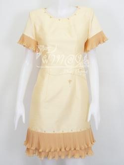 เดรสผ้าไหมแพรทองสีเหลืองอ่อนแต่งผ้าชีฟองอัดพลีท ไซส์ 3XL