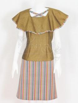 ชุดเสื้อกระโปรงผ้าฝ้ายสุโขทัยแต่งผ้ามุกสายรุ้ง ไซส์ L