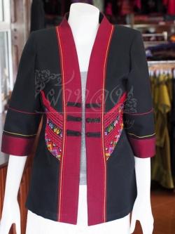 เสื้อคลุมผ้าฝ้ายสุโขทัยแต่งผ้าตีนจก ไซส์ XL