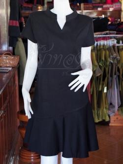 เดรสผ้าฝ้ายสีดำ คอจีน ไซส์ S