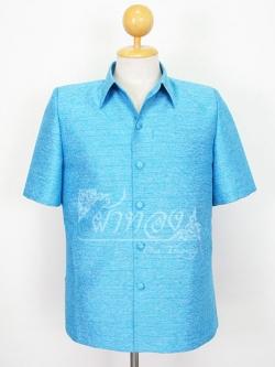 เสื้อสูทไหมผสมฝ้าย สีฟ้า ไซส์ S