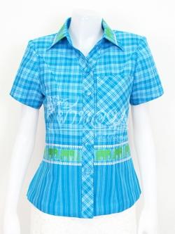 เสื้อผ้าทอลายช้างปกเชิ้ต สีฟ้า ไซส์ XL