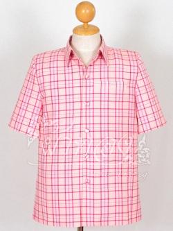 เสื้อสูทผ้าฝ้ายลายสก็อต สีชมพู ไซส์ S
