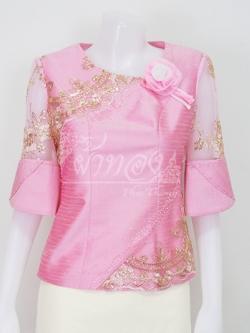 เสื้อผ้าไหมแพรทองแต่งลูกไม้ดิ้นทอง ไซส์ XL