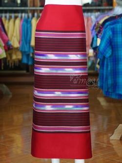 ผ้าซิ่นศิลามณี สีแดง