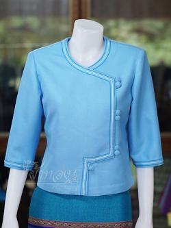 เสื้อผ้าฝ้ายสุโขทัย แต่งเดินไหม สีฟ้า ไซส์ L