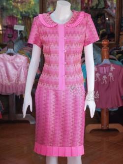 ชุดเสื้อกระโปรงผ้าลายมัดหมี่สุโขทัย ไซส์ L