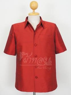เสื้อสูทไหมแพรทอง สีแดง ไซส์ 2XL