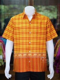 เสื้อเชิ้ตผ้าฝ้ายทอลายช้าง ไม่อัดผ้ากาว สีส้ม-เหลือง ไซส์ L