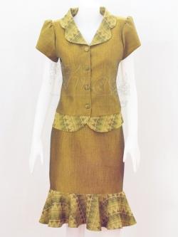 ชุดเสื้อกระโปรงผ้าฝ้ายสุโขทัยแต่งลายมัดหมี่สุโขทัย ไซส์ L