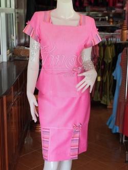 ชุดเสื้อกระโปรงผ้าฝ้ายสุโขทัยแต่งลายมุกสายรุ้งปกเชิ้ต ไซส์ 2XL
