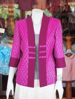 เสื้อคลุมผ้าฝ้ายสุโขทัย แต่งผ้าทอลายมัดหมี่ ไซส์ 2XL