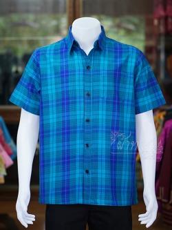 เสื้อเชิ้ตผ้าทอลายสก็อต ไม่อัดผ้ากาว สีน้ำเงิน-เขียว ไซส์ 2XL